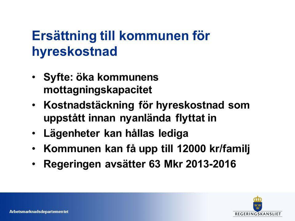 Arbetsmarknadsdepartementet Ersättning till kommunen för hyreskostnad Syfte: öka kommunens mottagningskapacitet Kostnadstäckning för hyreskostnad som