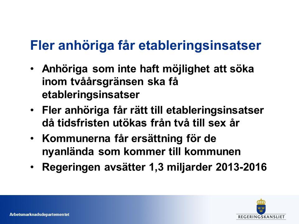 Arbetsmarknadsdepartementet Fler anhöriga får etableringsinsatser Anhöriga som inte haft möjlighet att söka inom tvåårsgränsen ska få etableringsinsat