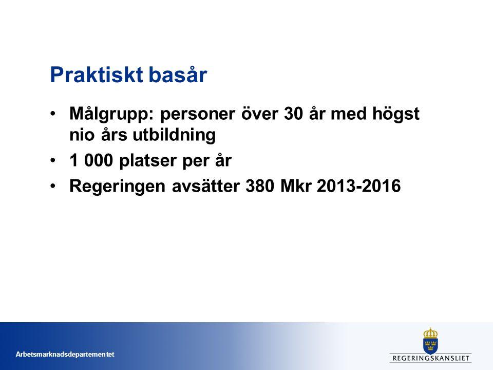 Arbetsmarknadsdepartementet Praktiskt basår Målgrupp: personer över 30 år med högst nio års utbildning 1 000 platser per år Regeringen avsätter 380 Mk