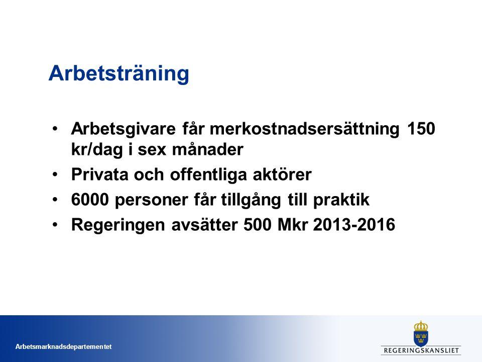 Arbetsmarknadsdepartementet Arbetsträning Arbetsgivare får merkostnadsersättning 150 kr/dag i sex månader Privata och offentliga aktörer 6000 personer