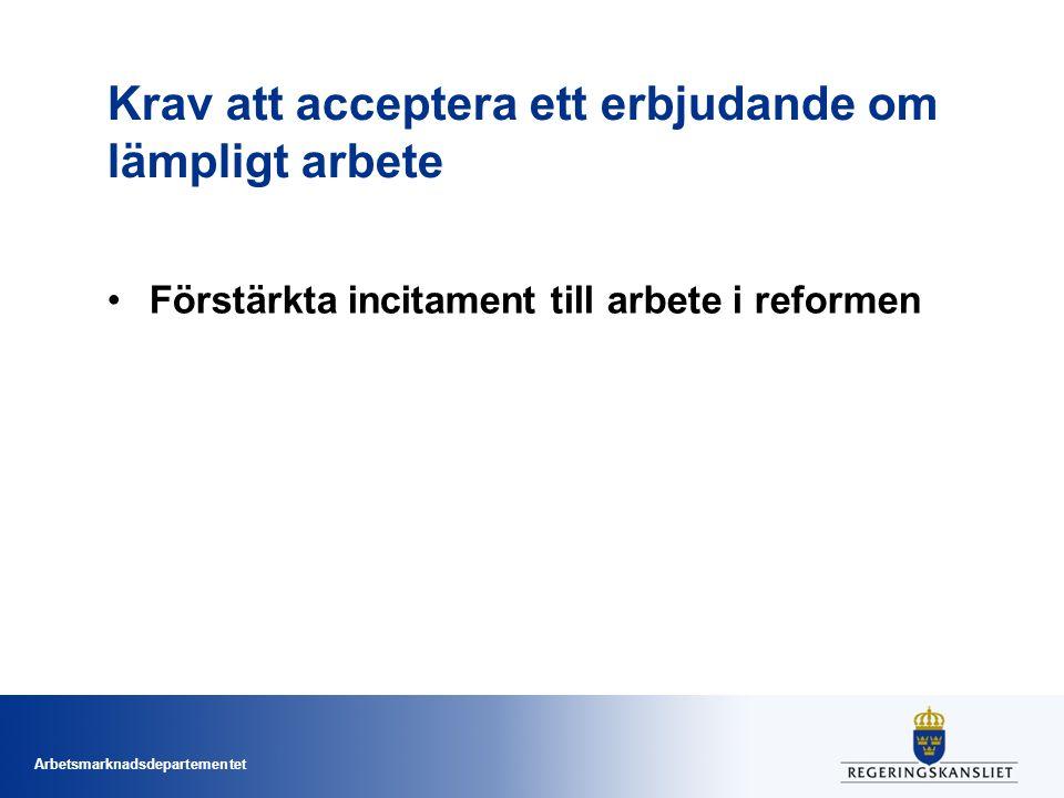 Arbetsmarknadsdepartementet Krav att acceptera ett erbjudande om lämpligt arbete Förstärkta incitament till arbete i reformen