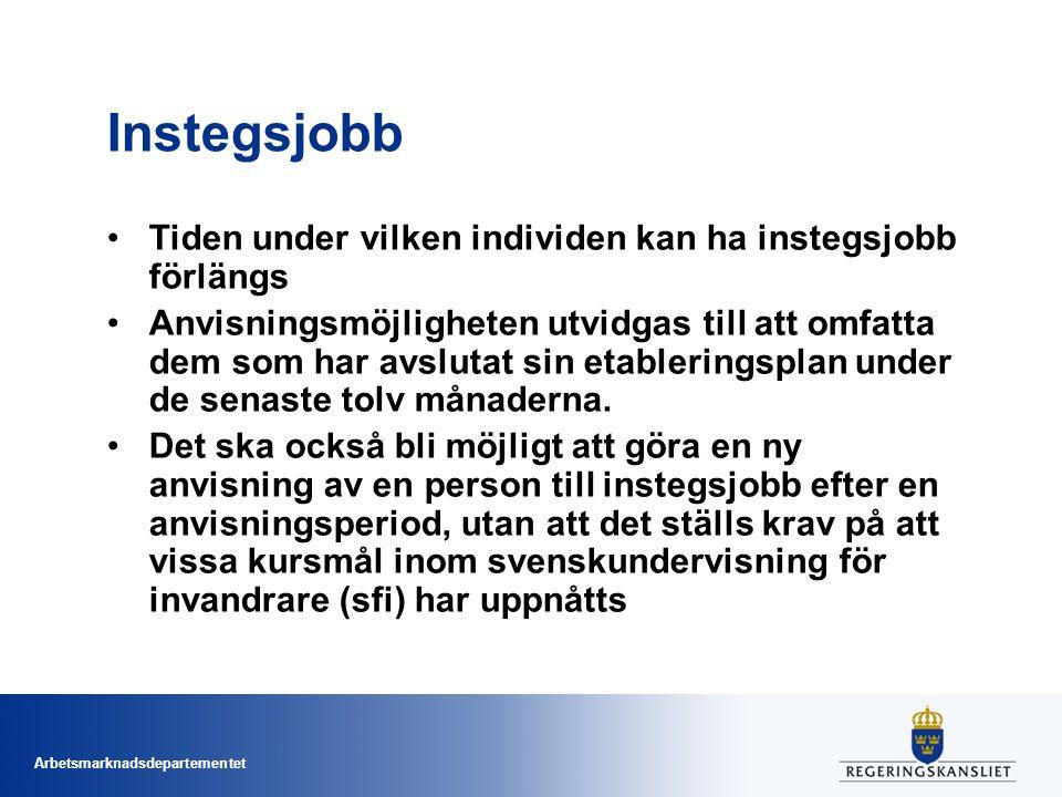 Arbetsmarknadsdepartementet Instegsjobb Tiden under vilken individen kan ha instegsjobb förlängs Anvisningsmöjligheten utvidgas till att omfatta dem s