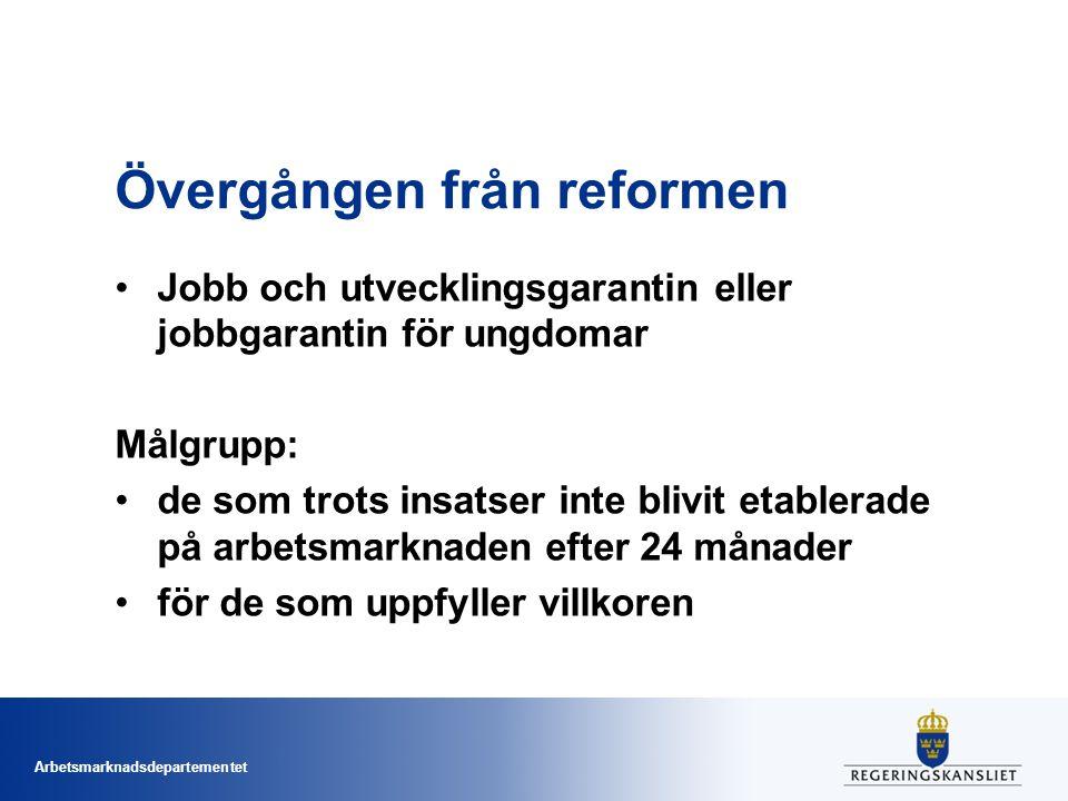 Arbetsmarknadsdepartementet Övergången från reformen Jobb och utvecklingsgarantin eller jobbgarantin för ungdomar Målgrupp: de som trots insatser inte