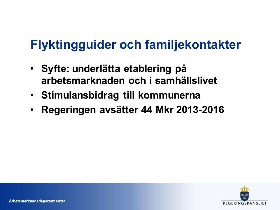 Arbetsmarknadsdepartementet Flyktingguider och familjekontakter Syfte: underlätta etablering på arbetsmarknaden och i samhällslivet Stimulansbidrag ti