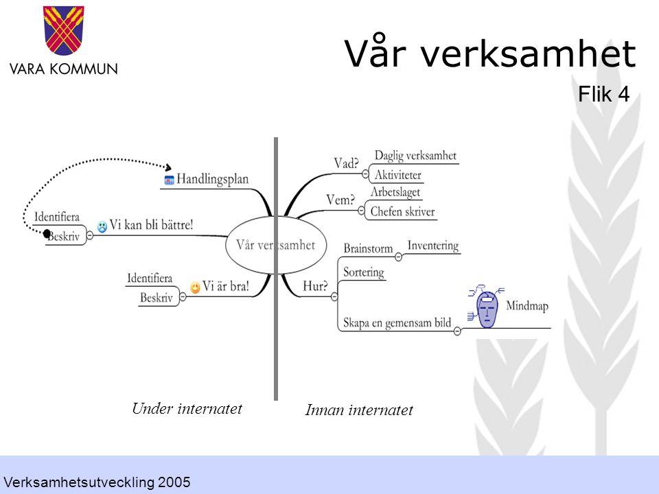 Vår verksamhet Flik 4 Innan internatet Under internatet Verksamhetsutveckling 2005