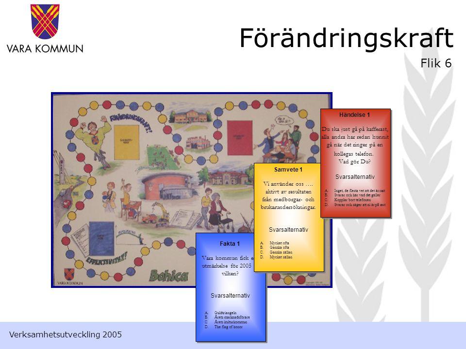 Förändringskraft Flik 6 Fakta 1 Vara kommun fick en utmärkelse för 2005 – vilken.