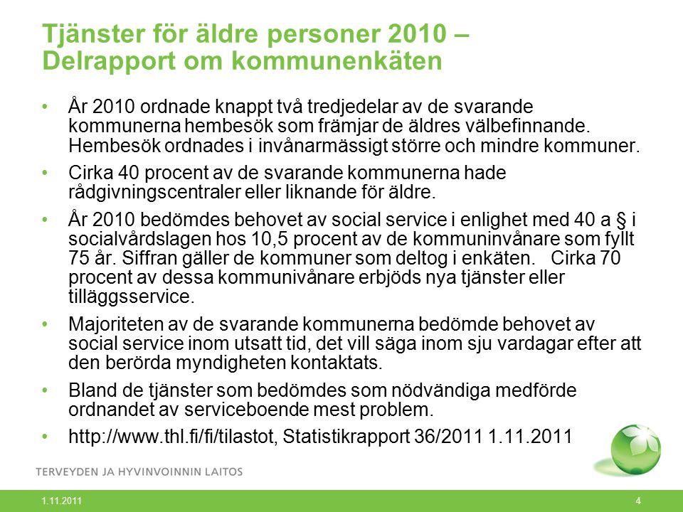 1.11.2011 4 Tjänster för äldre personer 2010 – Delrapport om kommunenkäten År 2010 ordnade knappt två tredjedelar av de svarande kommunerna hembesök som främjar de äldres välbefinnande.