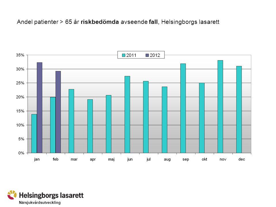 Närsjukvårdsutveckling Andel patienter med risk för fall (> 65 år) där standardvårdplan upprättats, Helsingborgs lasarett