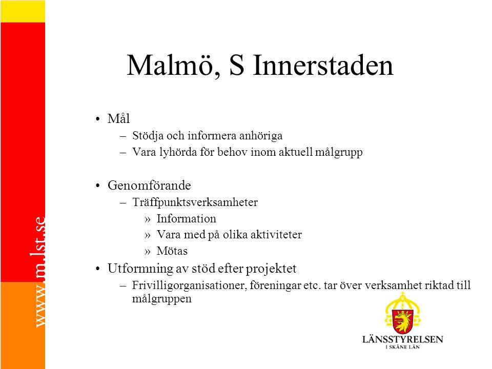 Malmö, S Innerstaden Mål –Stödja och informera anhöriga –Vara lyhörda för behov inom aktuell målgrupp Genomförande –Träffpunktsverksamheter »Informati