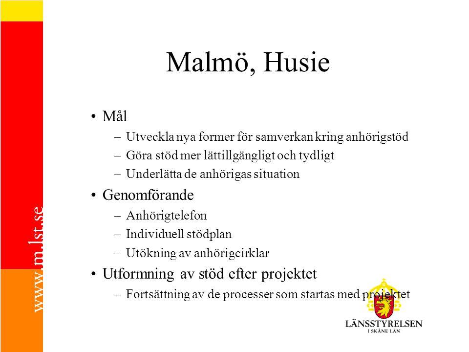 Malmö, Husie Mål –Utveckla nya former för samverkan kring anhörigstöd –Göra stöd mer lättillgängligt och tydligt –Underlätta de anhörigas situation Ge