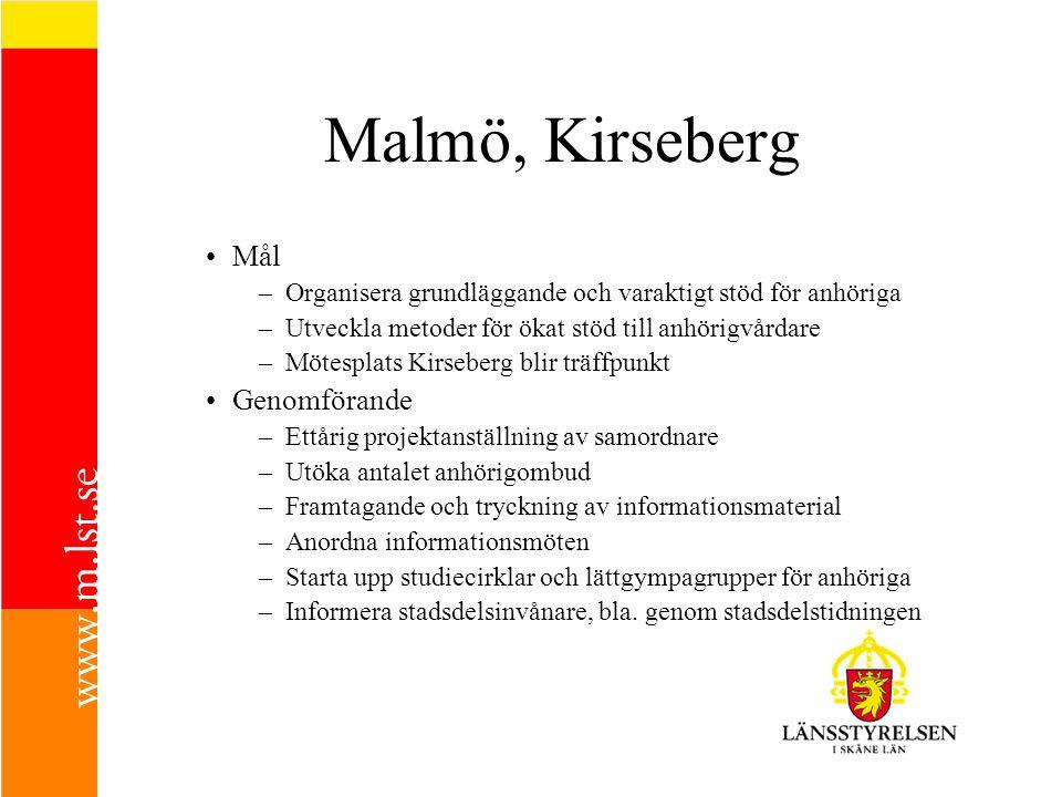 Malmö, Kirseberg Mål –Organisera grundläggande och varaktigt stöd för anhöriga –Utveckla metoder för ökat stöd till anhörigvårdare –Mötesplats Kirsebe