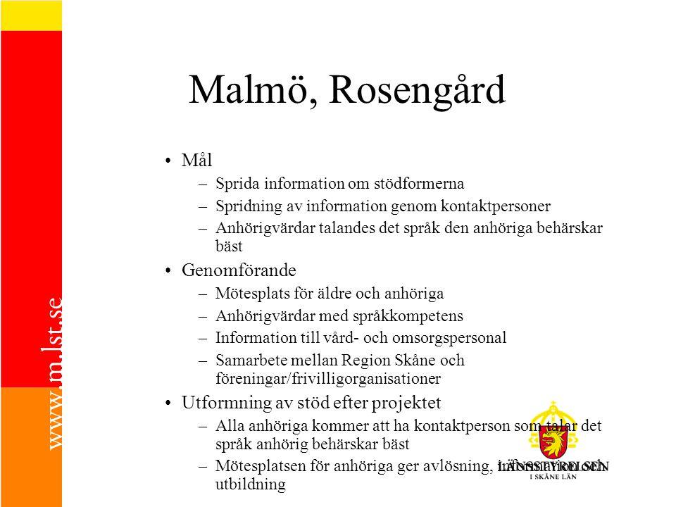 Malmö, Rosengård Mål –Sprida information om stödformerna –Spridning av information genom kontaktpersoner –Anhörigvärdar talandes det språk den anhörig