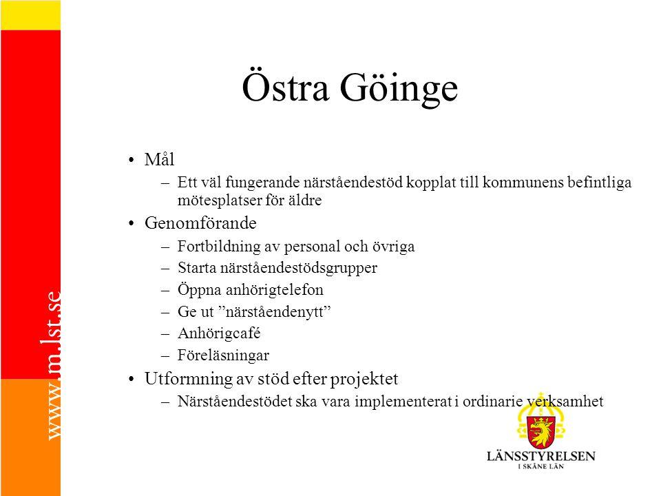 Östra Göinge Mål –Ett väl fungerande närståendestöd kopplat till kommunens befintliga mötesplatser för äldre Genomförande –Fortbildning av personal oc