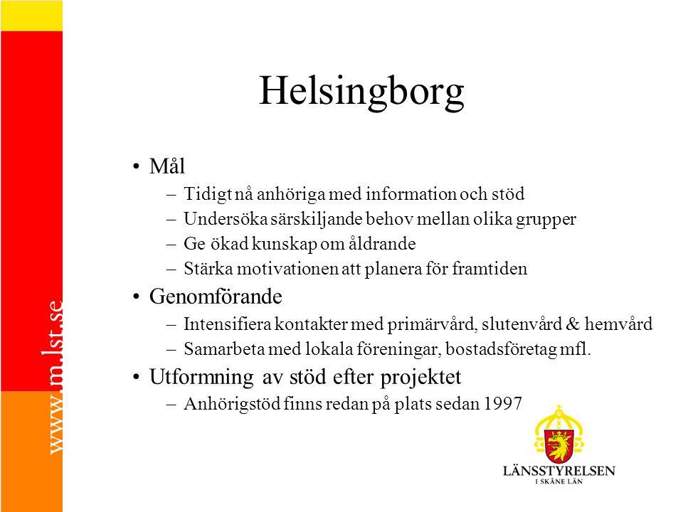 Helsingborg Mål –Tidigt nå anhöriga med information och stöd –Undersöka särskiljande behov mellan olika grupper –Ge ökad kunskap om åldrande –Stärka m