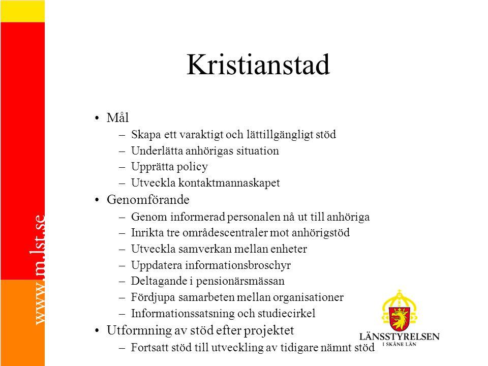 Kristianstad Mål –Skapa ett varaktigt och lättillgängligt stöd –Underlätta anhörigas situation –Upprätta policy –Utveckla kontaktmannaskapet Genomföra