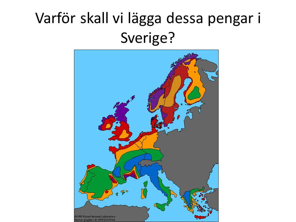 Varför skall vi lägga dessa pengar i Sverige?