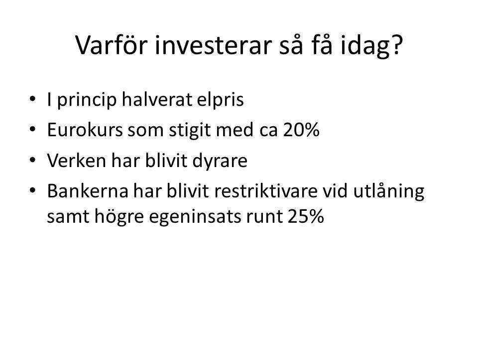 Varför investerar så få idag? I princip halverat elpris Eurokurs som stigit med ca 20% Verken har blivit dyrare Bankerna har blivit restriktivare vid