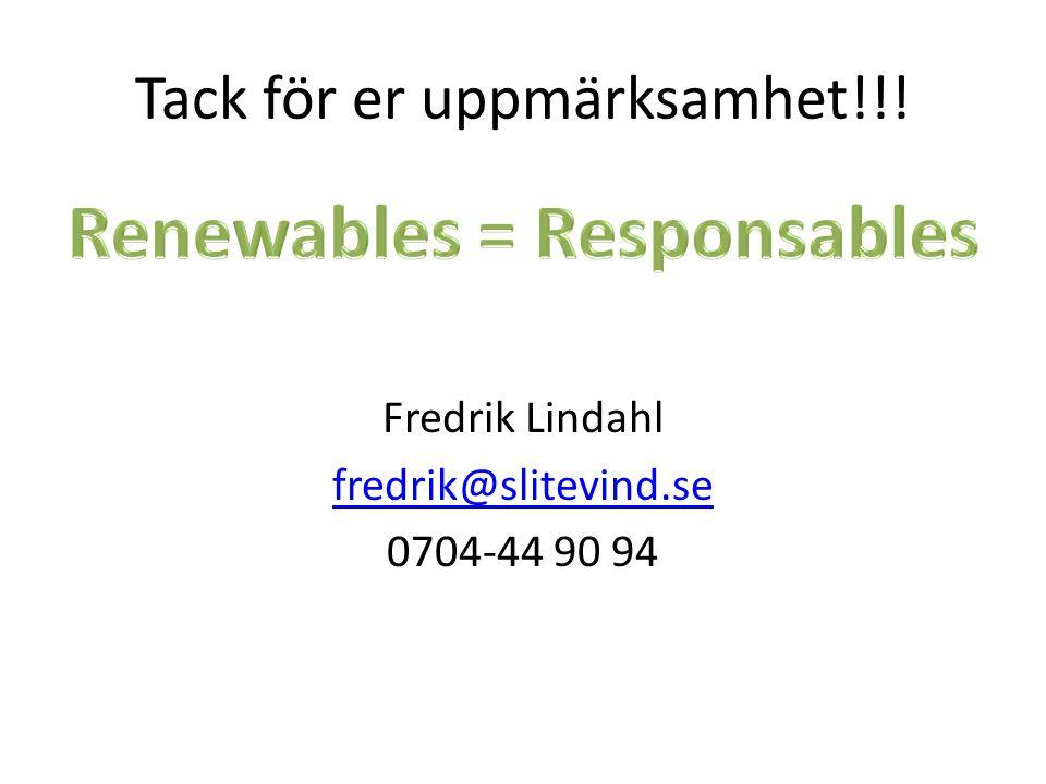 Fredrik Lindahl fredrik@slitevind.se 0704-44 90 94 Tack för er uppmärksamhet!!!