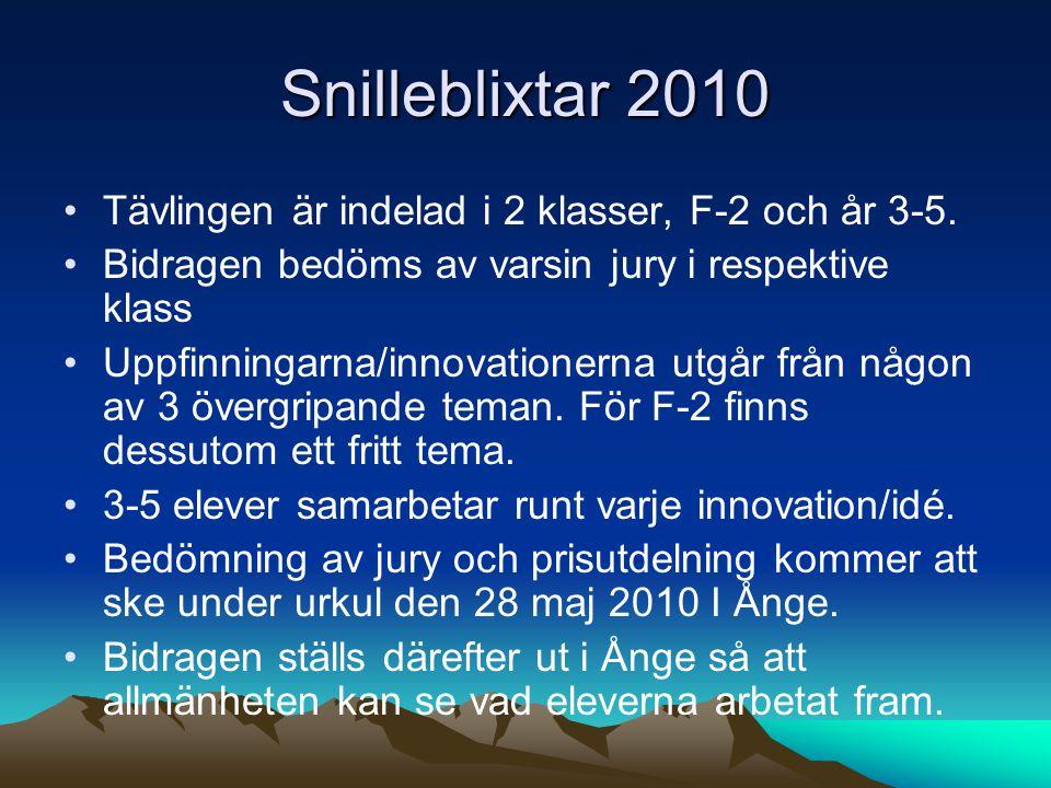 Snilleblixtar 2010 Tävlingen är indelad i 2 klasser, F-2 och år 3-5.