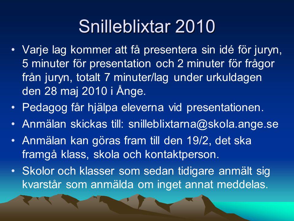 Snilleblixtar 2010 Varje lag kommer att få presentera sin idé för juryn, 5 minuter för presentation och 2 minuter för frågor från juryn, totalt 7 minuter/lag under urkuldagen den 28 maj 2010 i Ånge.