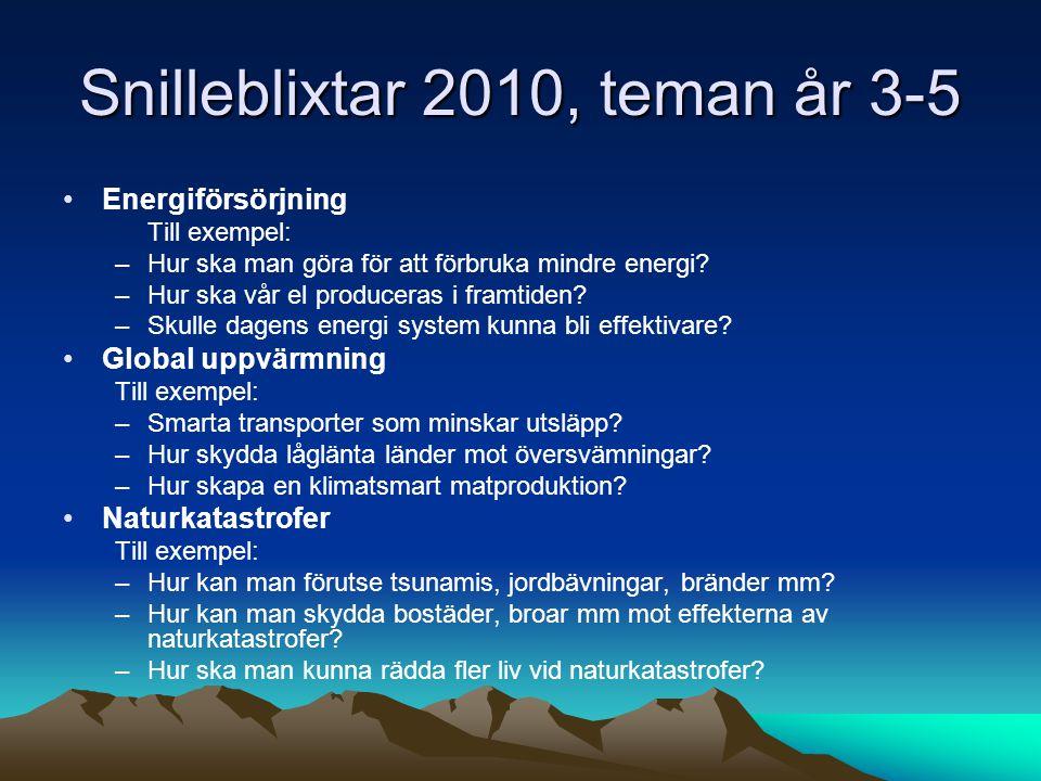 Snilleblixtar 2010, teman år 3-5 Energiförsörjning Till exempel: –Hur ska man göra för att förbruka mindre energi.