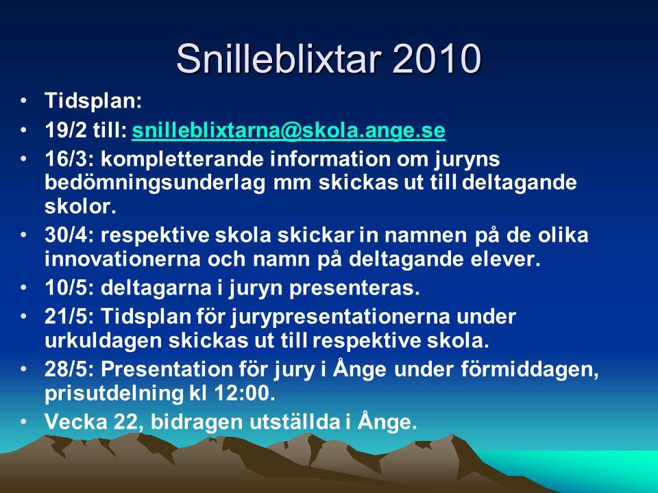 Snilleblixtar 2010 Tidsplan: 19/2 till: snilleblixtarna@skola.ange.sesnilleblixtarna@skola.ange.se 16/3: kompletterande information om juryns bedömningsunderlag mm skickas ut till deltagande skolor.