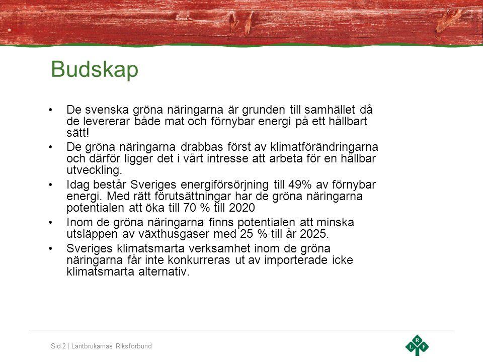 Sid 2 | Lantbrukarnas Riksförbund Budskap De svenska gröna näringarna är grunden till samhället då de levererar både mat och förnybar energi på ett hållbart sätt.