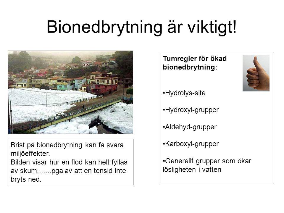 Bionedbrytning är viktigt! Brist på bionedbrytning kan få svåra miljöeffekter. Bilden visar hur en flod kan helt fyllas av skum.......pga av att en te