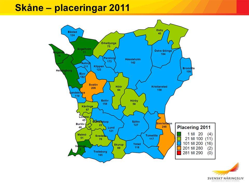 Skåne – placeringar 2011