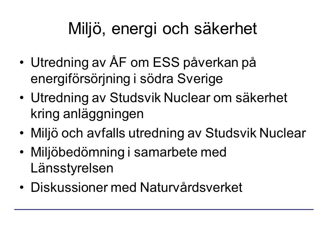 Miljö, energi och säkerhet Utredning av ÅF om ESS påverkan på energiförsörjning i södra Sverige Utredning av Studsvik Nuclear om säkerhet kring anläggningen Miljö och avfalls utredning av Studsvik Nuclear Miljöbedömning i samarbete med Länsstyrelsen Diskussioner med Naturvårdsverket