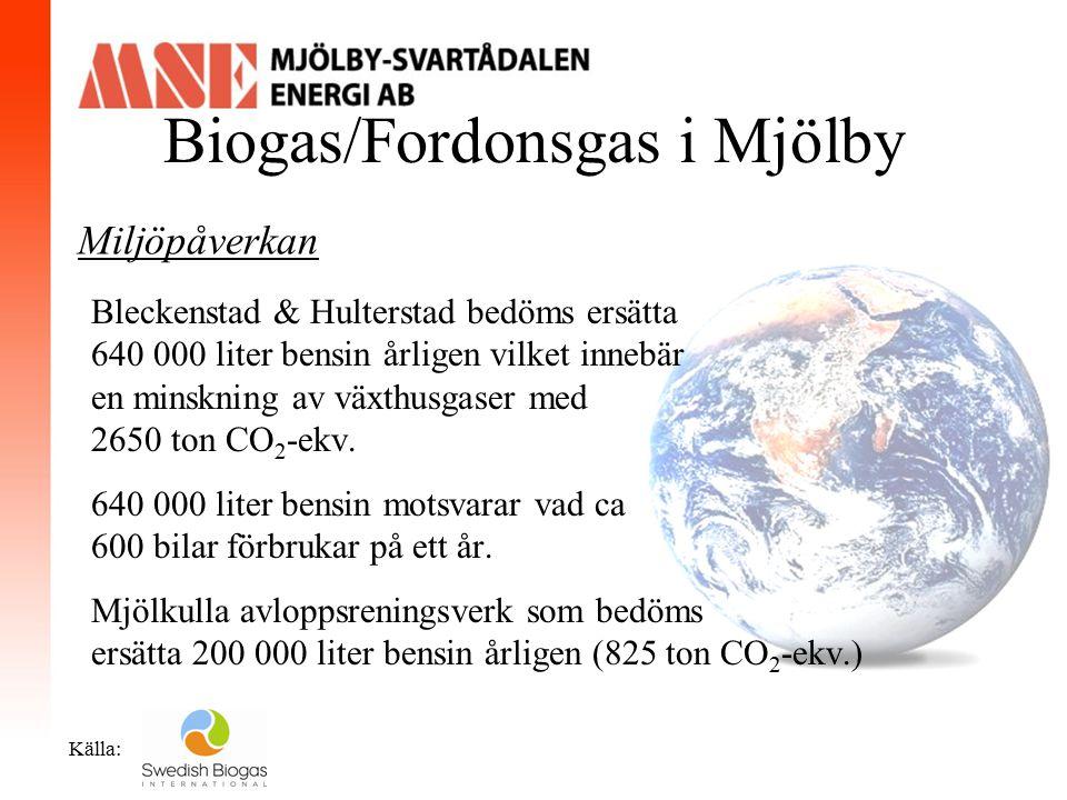 Biogas/Fordonsgas i Mjölby Miljöpåverkan Produktionstid: Miljontals år Bleckenstad & Hulterstad bedöms ersätta 640 000 liter bensin årligen vilket inn