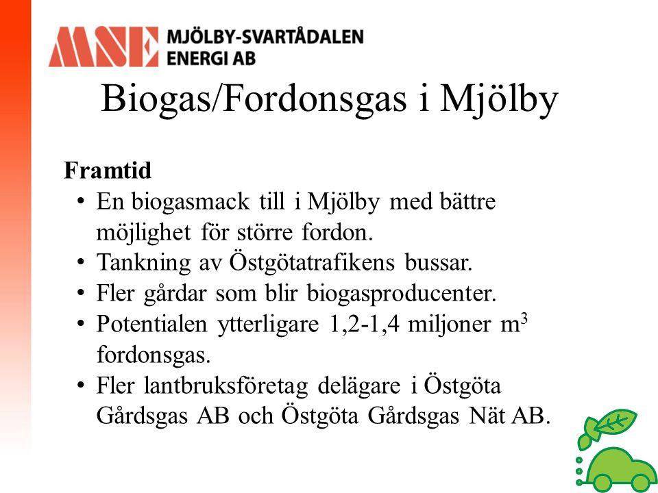 Biogas/Fordonsgas i Mjölby Framtid En biogasmack till i Mjölby med bättre möjlighet för större fordon. Tankning av Östgötatrafikens bussar. Fler gårda