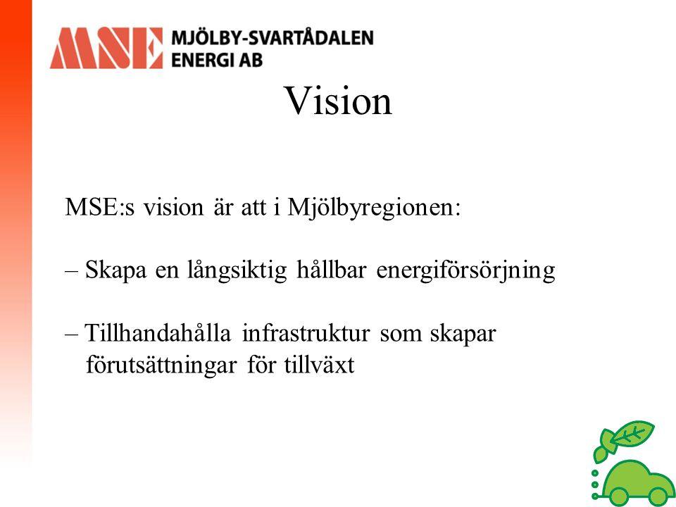Vision MSE:s vision är att i Mjölbyregionen: – Skapa en långsiktig hållbar energiförsörjning – Tillhandahålla infrastruktur som skapar förutsättningar