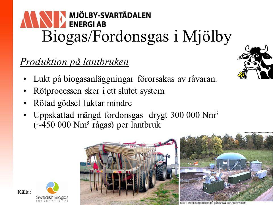 Biogas/Fordonsgas i Mjölby Källa: Produktion vid Mjölkulla avloppsreningsverk Produktionstid: Miljontals år Förstudie är gjord Processen är uppstartad inom kommunen Uppskattad mängd fordonsgas ~200 000 Nm 3 (~300 000 Nm 3 rågas)