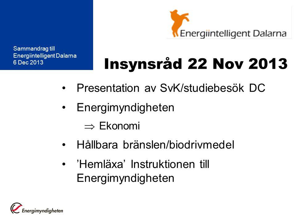 Insynsråd 22 Nov 2013 Presentation av SvK/studiebesök DC Energimyndigheten  Ekonomi Hållbara bränslen/biodrivmedel 'Hemläxa' Instruktionen till Energimyndigheten Sammandrag till Energiintelligent Dalarna 6 Dec 2013