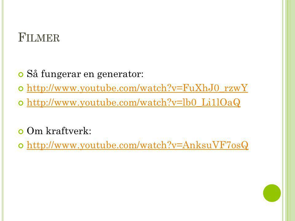 F ILMER Så fungerar en generator: http://www.youtube.com/watch?v=FuXhJ0_rzwY http://www.youtube.com/watch?v=lb0_Li1lOaQ Om kraftverk: http://www.youtu