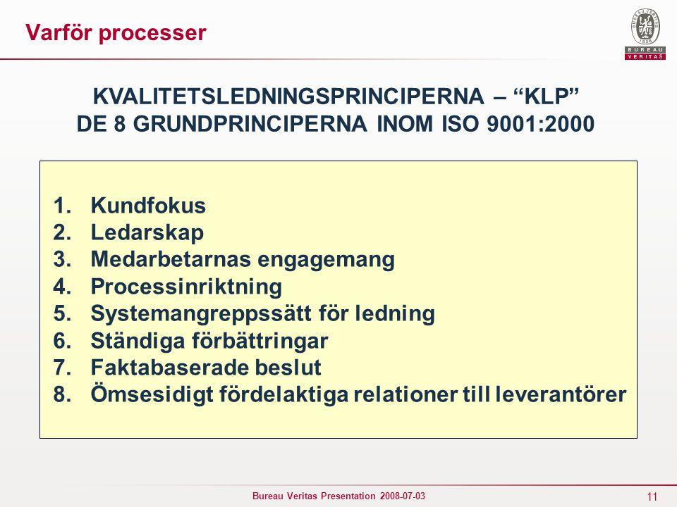 """11 Bureau Veritas Presentation 2008-07-03 KVALITETSLEDNINGSPRINCIPERNA – """"KLP"""" DE 8 GRUNDPRINCIPERNA INOM ISO 9001:2000 1. Kundfokus 2. Ledarskap 3. M"""