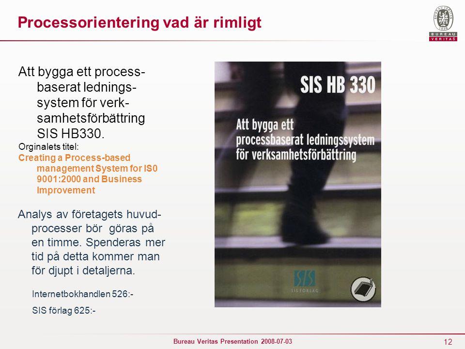12 Bureau Veritas Presentation 2008-07-03 Processorientering vad är rimligt Att bygga ett process- baserat lednings- system för verk- samhetsförbättri