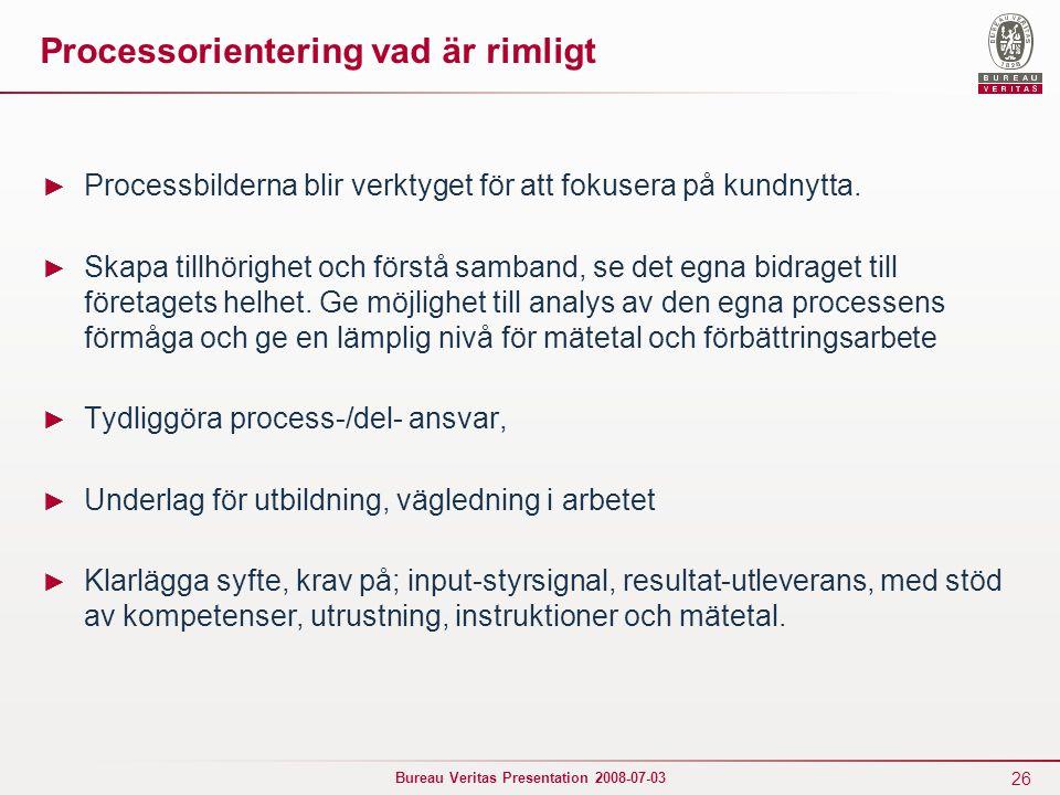 26 Bureau Veritas Presentation 2008-07-03 Processorientering vad är rimligt ► Processbilderna blir verktyget för att fokusera på kundnytta. ► Skapa ti