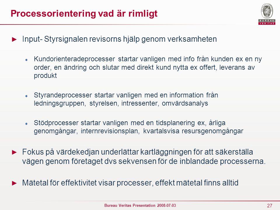 27 Bureau Veritas Presentation 2008-07-03 Processorientering vad är rimligt ► Input- Styrsignalen revisorns hjälp genom verksamheten Kundorienteradepr