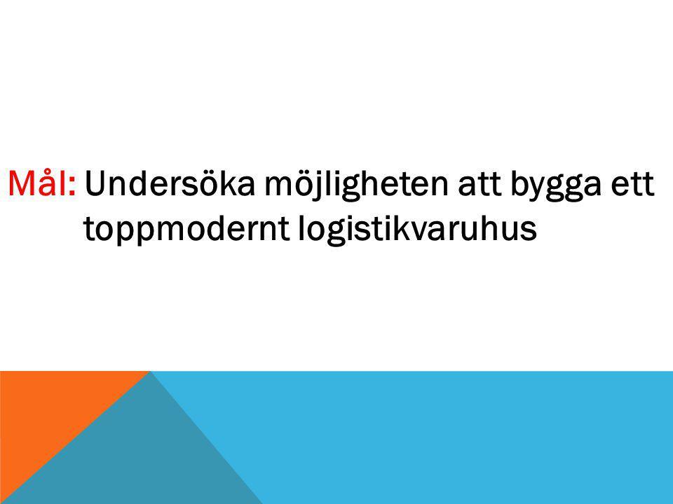 Mål: Undersöka möjligheten att bygga ett toppmodernt logistikvaruhus