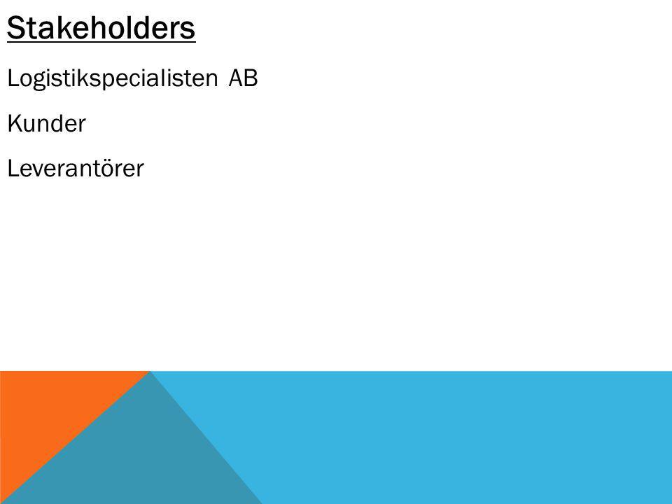 Stakeholders Logistikspecialisten AB Kunder Leverantörer