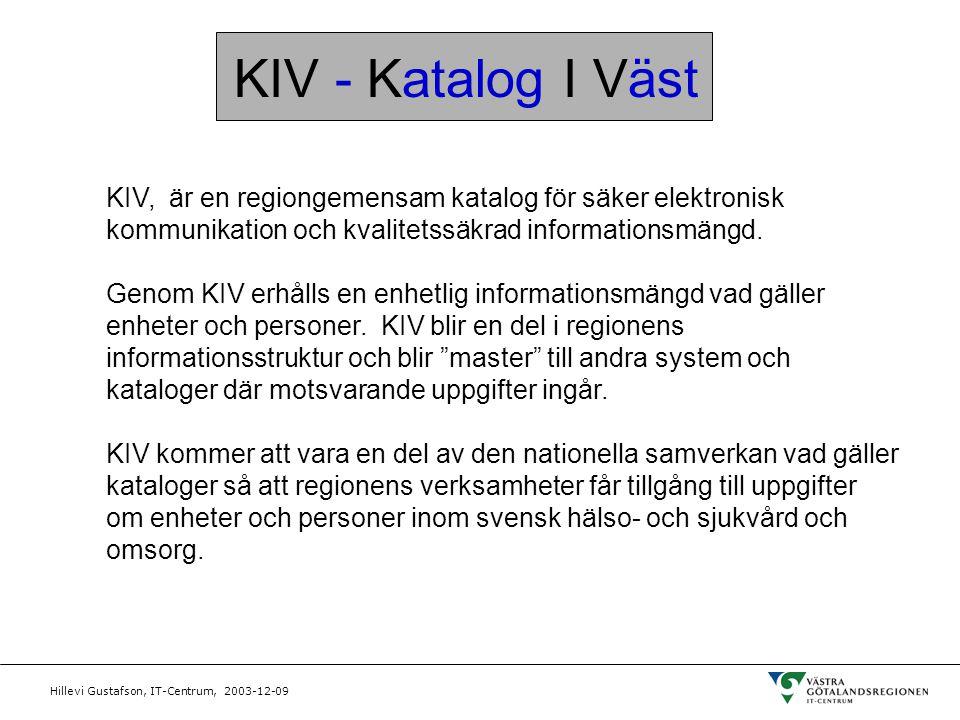 Hillevi Gustafson, IT-Centrum, 2003-12-09 KIV - Katalog I Väst KIV, är en regiongemensam katalog för säker elektronisk kommunikation och kvalitetssäkr