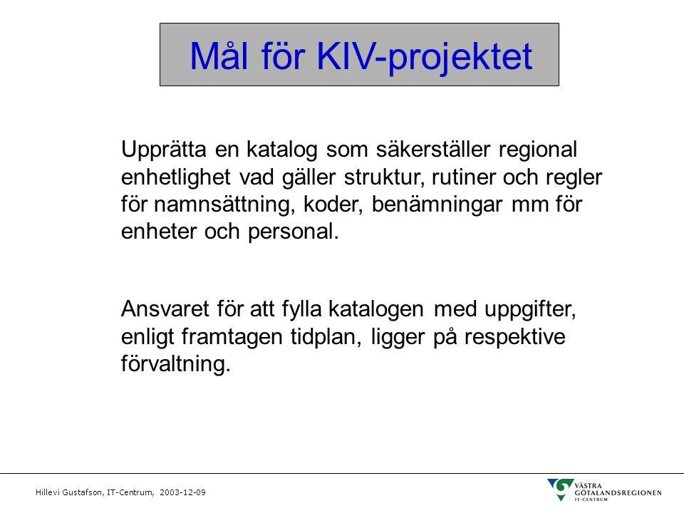 Hillevi Gustafson, IT-Centrum, 2003-12-09 Mål för KIV-projektet Upprätta en katalog som säkerställer regional enhetlighet vad gäller struktur, rutiner
