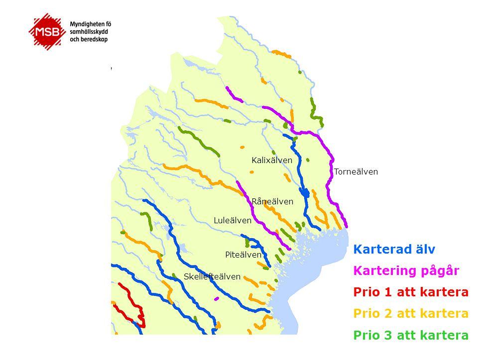 Torneälven Kalixälven Luleälven Piteälven Karterad älv Kartering pågår Prio 1 att kartera Prio 2 att kartera Prio 3 att kartera Råneälven Skellefteälv