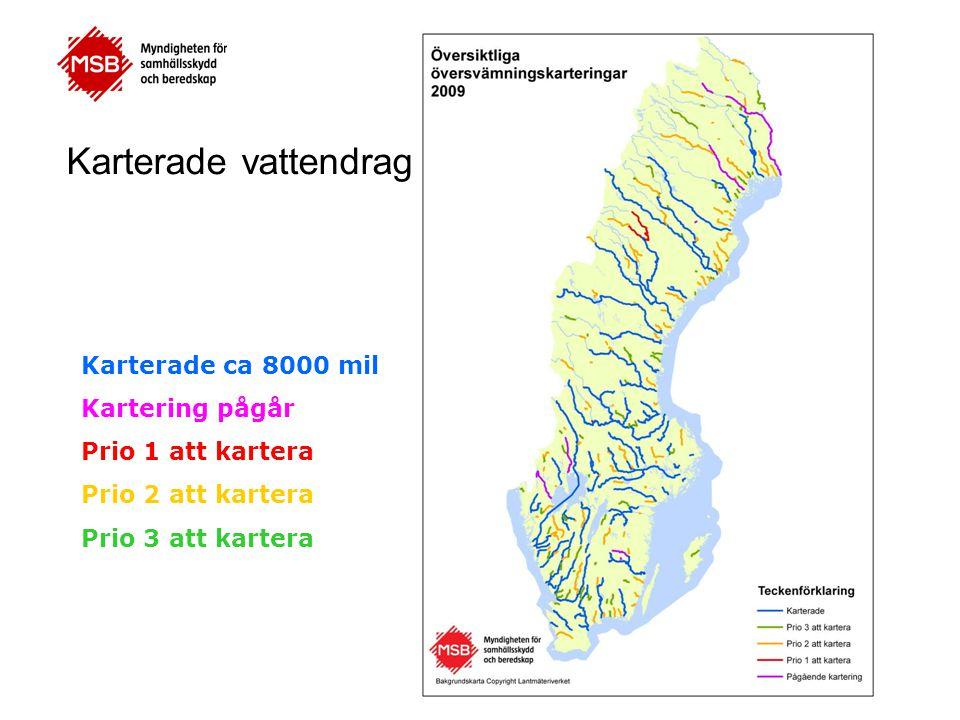 Karterade ca 8000 mil Kartering pågår Prio 1 att kartera Prio 2 att kartera Prio 3 att kartera Karterade vattendrag