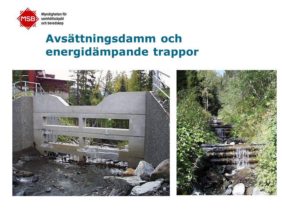 Avsättningsdamm och energidämpande trappor