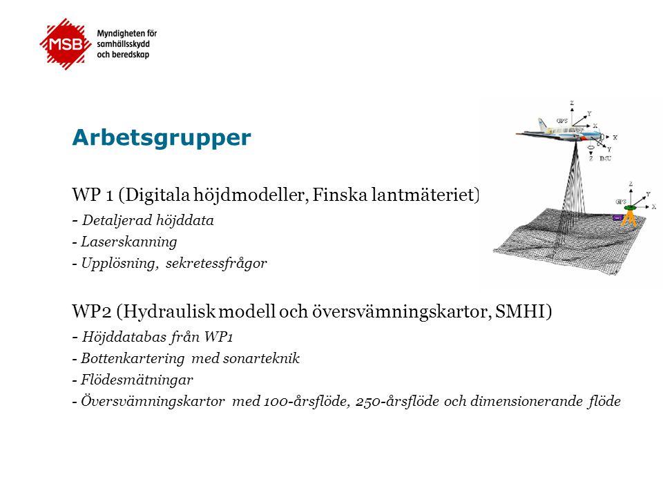 Arbetsgrupper WP 1 (Digitala höjdmodeller, Finska lantmäteriet) - Detaljerad höjddata - Laserskanning - Upplösning, sekretessfrågor WP2 (Hydraulisk modell och översvämningskartor, SMHI) - Höjddatabas från WP1 - Bottenkartering med sonarteknik - Flödesmätningar - Översvämningskartor med 100-årsflöde, 250-årsflöde och dimensionerande flöde