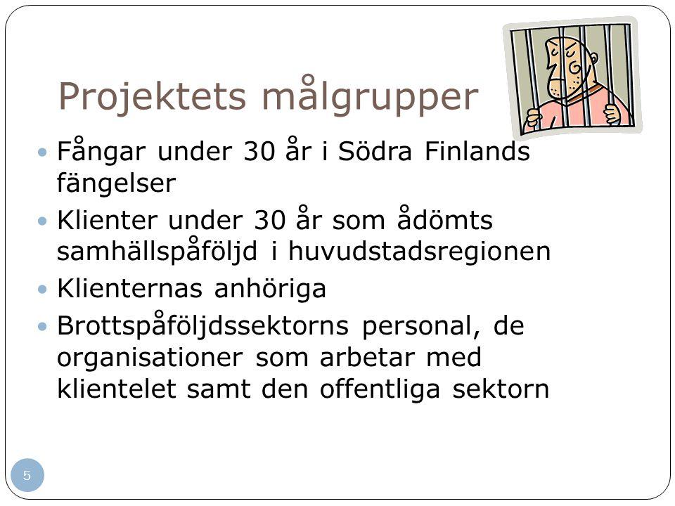 5 Projektets målgrupper Fångar under 30 år i Södra Finlands fängelser Klienter under 30 år som ådömts samhällspåföljd i huvudstadsregionen Klienternas anhöriga Brottspåföljdssektorns personal, de organisationer som arbetar med klientelet samt den offentliga sektorn