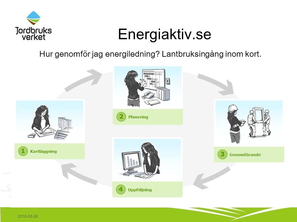 Energiaktiv.se 2015-03-29 Hur genomför jag energiledning Lantbruksingång inom kort.